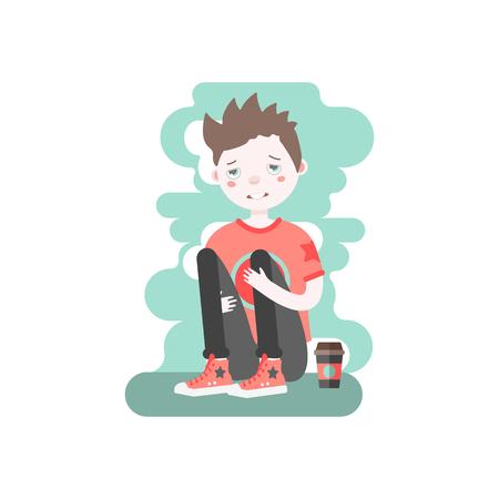 Verstoor Kaukasisch bruin haired jongen met koffie zitten en knuffelen zijn knieën.