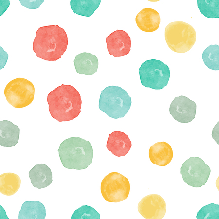 Vector watercolor circles seamless pattern. Retro hand drawn circles ornament. Round shapes pattern. Round shapes. Painted ornament. Grunge colorful rounds shapes.