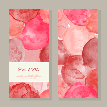 Vector watercolor splashes vertical frame pattern invitation greeting cards set for wedding, marriage, bridal, birthday, Valentine's day, Merry Christmas.  Pink, red colors vector illustration.
