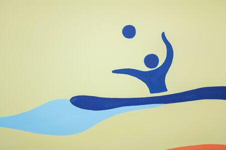 Figure swimming man blue with a ball. Water polo