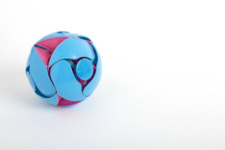 Plastic toy ball transformer blue and pink. Childrens toy. Beautiful toy ball