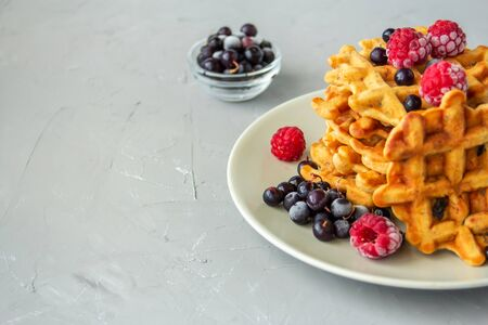 Carrot waffles with prunes, walnuts, cinnamon, ginger and nutmeg on a gray plate on a grey background. Sprinkled with fresh raspberries and black currants