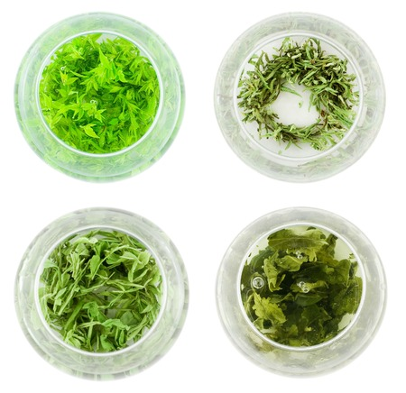 Bowls of various green tea photo