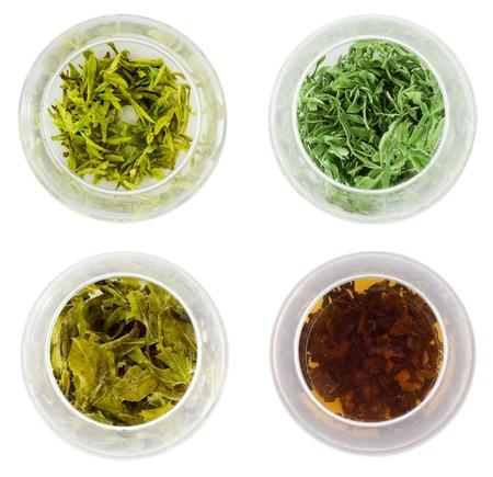 Bowls of diferent green tea  photo