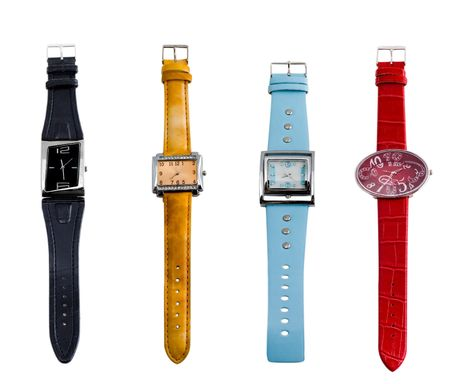 Various color watches. Isolated on white