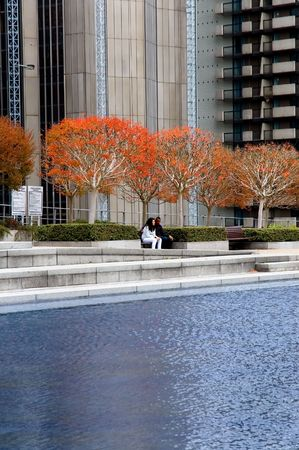 Young couple in the heart of city
