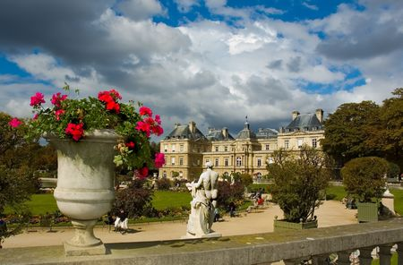 Scenic clouds over Luxembourg Palace in Paris. France