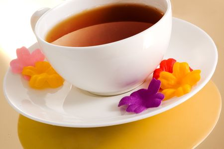 Cup of tea with color flowers Stock Photo - 2641126