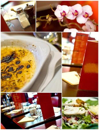 Collage french restaurant interior photo