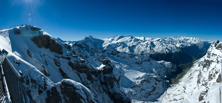 Panoramic view from Titlis over swiss alps, Switzerland