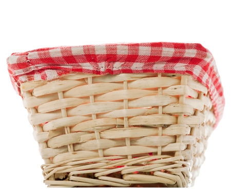 clothe: Cane bread basket with internal red and black clothe  Stock Photo