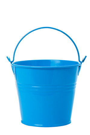 Blue iron bucket isolated on white background.  photo