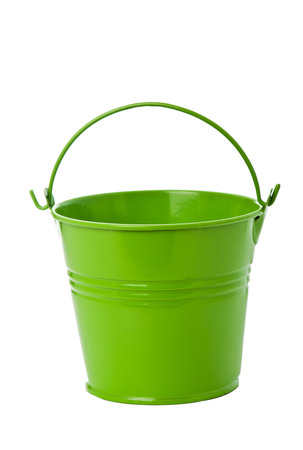 Apple green iron bucket isolated on white background.  photo