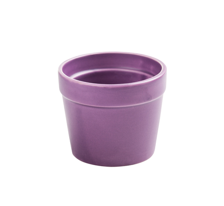 clay pot: Purple Flower Pot Isolated on White Stock Photo