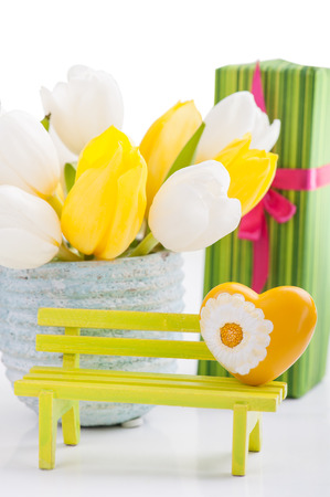 yellow heart: Yellow heart, gifts and tulips. Valentines, Easter, Birthday, Mothers Day still life