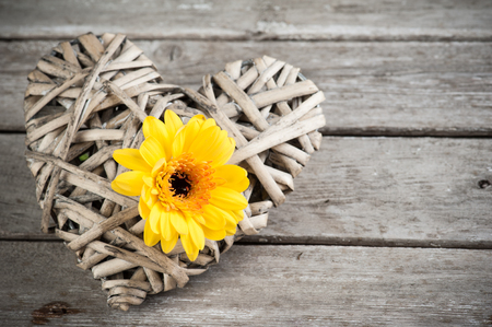 Background with yellow flower and wicker decorative heart on weathered wooden planks. Place for text.