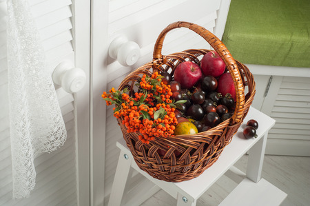 fruits in a basket: Thanksgiving set of fruits and vegetables in basket. White interior