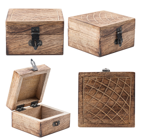 caved: Set with closed and open rustic wooden box isolated on white