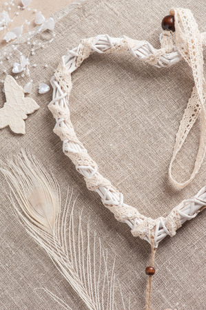 Beige Lace Heart Shaped Dream Catcher With Pearls Wedding Decor