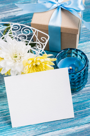 blank card for text white and yellow chrysanthemum in a pot