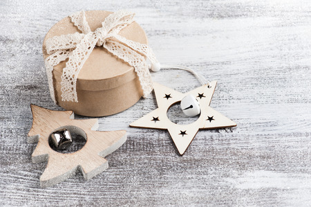 Craft gift and wooden christmas decoration in Scandinavian style