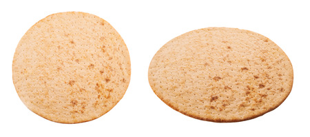Pre-made pizza base isolated on white background, top and side view