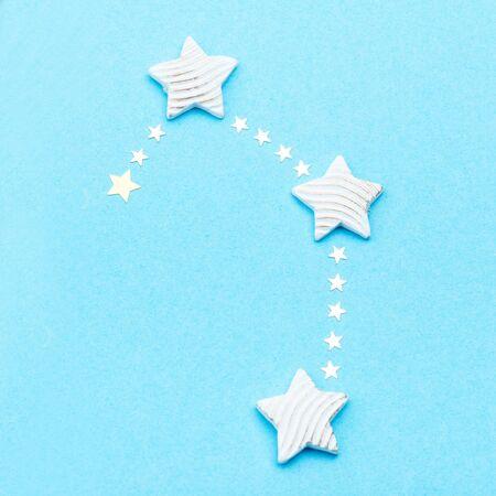 Zodiac constellation Libra on blue background