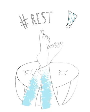 Vector outline illustration of woman's legs in blue jeans crossed over big poof. Hashtag rest and tube cream to illustrate concept of self care