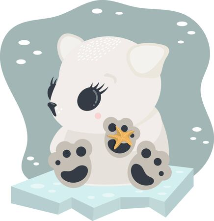 Cute kawaii arctic polar baby bear with starfish on ice as vector illustration. Concept for children book, nursery, Christmas or New year party, baby shower