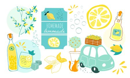 Juicy summer set with lemons and lemonade and limoncello vector illustration. Lemon slice, tag, bottles and italian car and cat