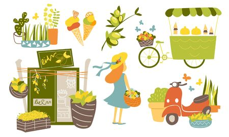 Summer collection with lemon shop, ice cream cart, girl, plants and scooter vector illustration. Italian set of images in flat cartoon style