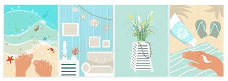 Summer set of vector illustrations with beach, interior, SPF cream, flowers. Cartoon illustration for travel and vacation design. Turquoise towel and flipflops in sand