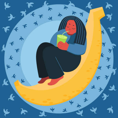 Young woman sitting on big banana holding green smoothie. Harvesting concept, vegetarianism, healthy food, farm products. Flat cartoon vector illustration on blue background