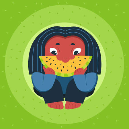 Young woman holding big slice of yellow watermelon. Harvesting concept, vegetarianism, healthy food, farm products. Flat cartoon vector illustration on bright yellow background