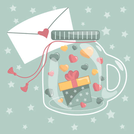 Ð¡artoon jar vector illustration filled with hearts and gift box with bow. Valentine's day, Mother Day or birthday concept. Hand drawn pot with love note for greetings, postcard, cards