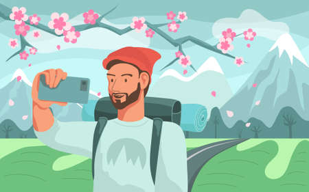Man tourist with backpack taking selfie over spring mountain landscape and blossom branch on background. Flat vector illustration