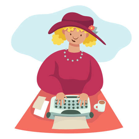 Woman writer typing on vintage typewriter. Flat cartoon illustration for creative social media promotion and blogging