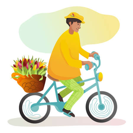 Cute cartoon florist on blue bike with basket full of fresh tulips. Vector illustration for greeting card, poster, flyer for holidays or flower shop site