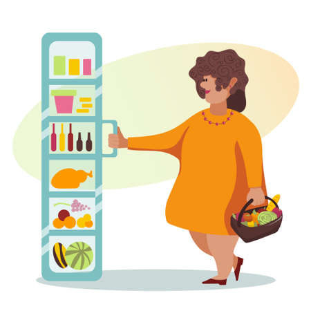 Cartoon vector illustration of female opening fridge in grocery store. Fat woman in orange dress with basket, fruits and vegetables. Customers or shopper in supermarket