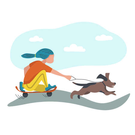 Teenager playing with dog outdoor flat vector illustration. Young cartoon girl riding skateboard in park. Concept for outdoors activity, sport and recreation.