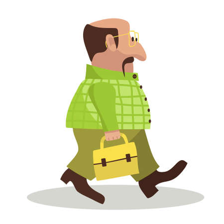 Fat and bold office worker walking with briefcase. Bussinesman going to office. Borring lifestyle