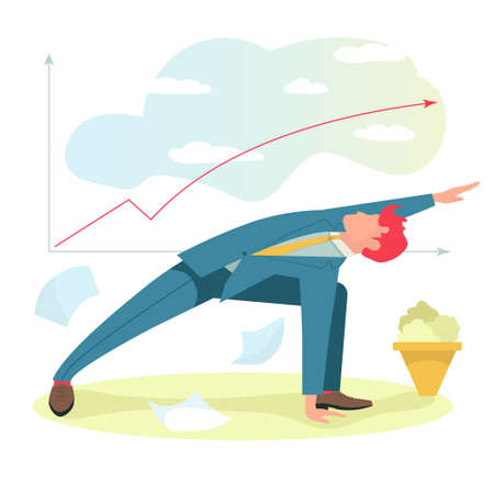 Businessman in suit doing yoga with graph of financial growth on background. Vector flat illustration