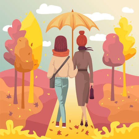 Couple of young women friends walking in autumn park under umbrella. Vector illustration of fall outdoor activity scene
