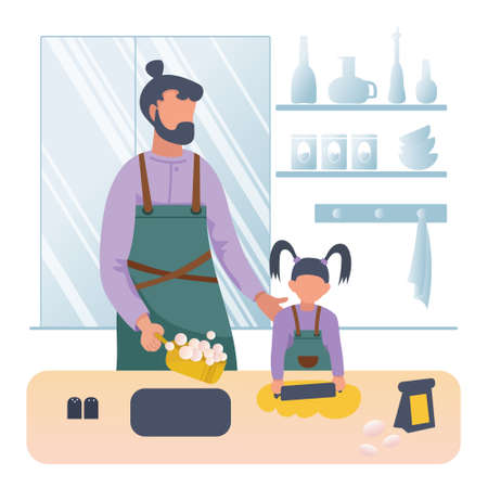 Father cooking dinner with little daughter. Vector flat cartoon illustration on white background. Concept for stay at home indoor during COVID-19