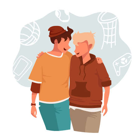 Two young teenage boys hugging. Vector illustration of friends loughing together and having fun Illusztráció