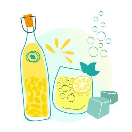 Lemonade bottle and glass flat vector illustrations isolated on white background. Summer drink, refreshing italian limoncello