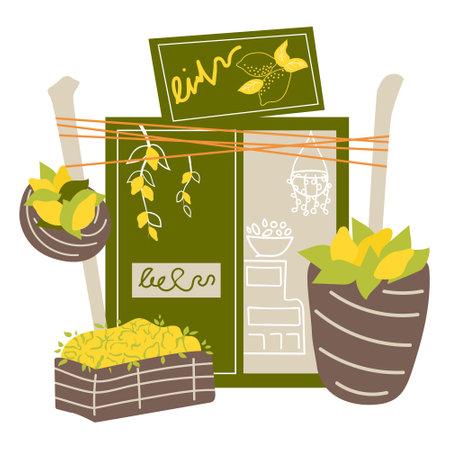 Local italian fruit lemon shop.  Cartoon vector illustration