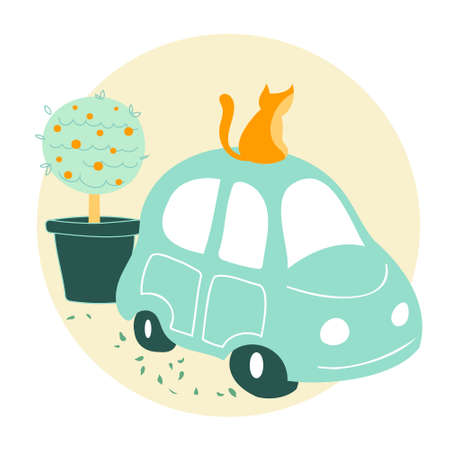 Mint green car with cat sitting on top cartoon vector illustration. Travelling or car renting concept Illusztráció