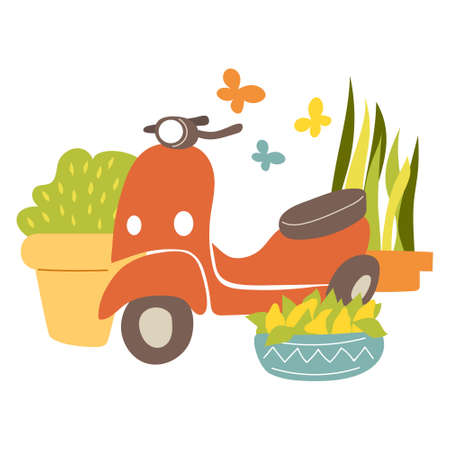 Colorful scooter with plants and butterflies, flat vector illustration