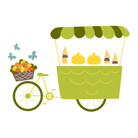 Ice cream cart with bike, flowers and butterflies. Vector illustration in flat style